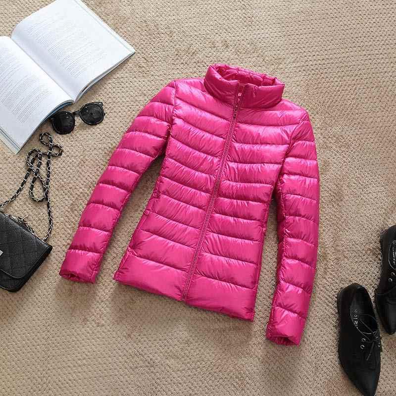 2019 新秋冬女性薄い白アヒルダウンジャケットパーカー女性超軽量ダウンコートショートトップスプラスサイズ 4XL
