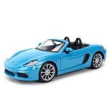 Bburago 1:24 porsche 718 boxster carro esportivo estático morrer fundido veículos collectible modelo carro brinquedos