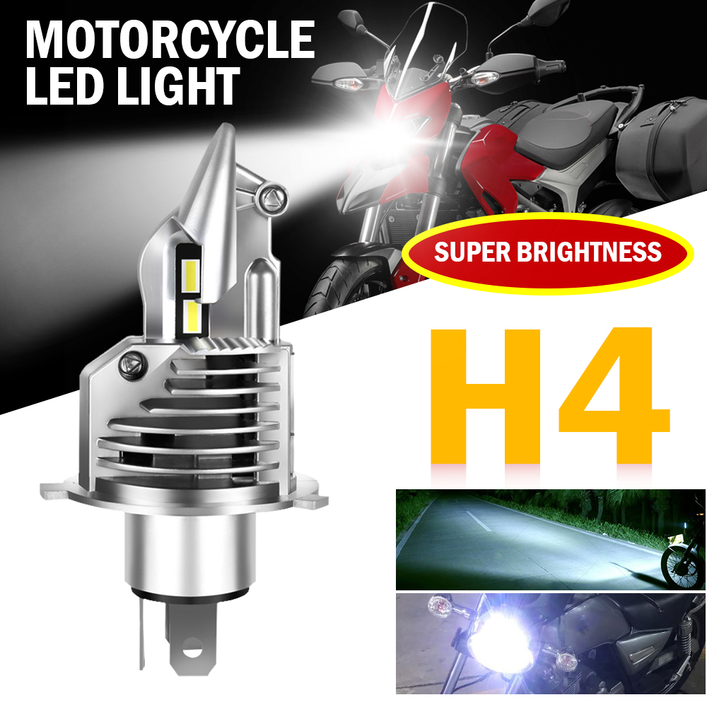 HL LED H4 Motorcycle Headlight Bulb 6500K LED Light High Beam   Low Beam H4 LED Bulb Replacement Lamp for Auto 12V 24V