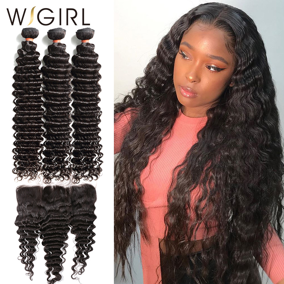Wigirl 8- 28 30 Inch Brazilian Remy Deep Wave Human Hair Weave Bundles With 13X4 Frontal Lace Closure Curly Extension