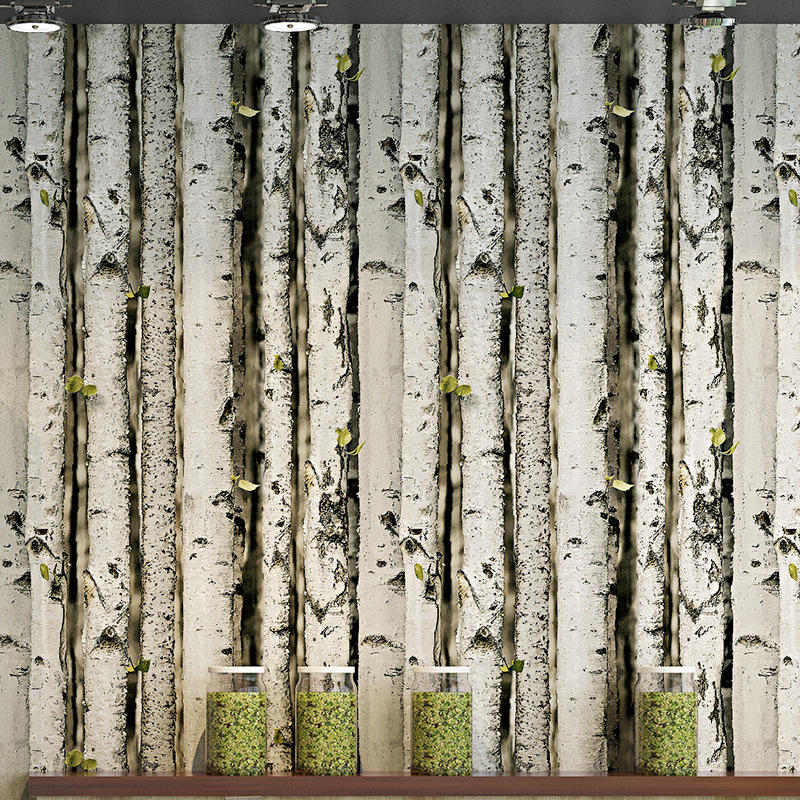 Nordic Features Silver Birch Forest PVC Wallpaper Retro Model Trees Wood Grain Living Room Television Background Wall Wallpaper