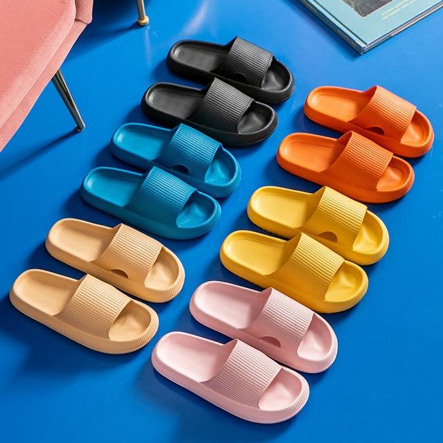 Mulheres chinelos de plataforma grossa verão praia eva sola macia sandálias de corrediça lazer masculino senhoras interior banheiro anti-deslizamento sapatos 1
