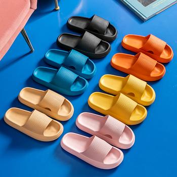 Kobiety grube sandały na platformie Summer Beach Eva miękkie podeszwy sandały wsuwane wypoczynek mężczyźni panie kryty łazienka antypoślizgowe buty tanie i dobre opinie PICKSUMMER Mieszkanie (≤1cm) CN (pochodzenie) Lato Indoor Płaskie z kapcie 3-5 cm Dobrze pasuje do rozmiaru wybierz swój normalny rozmiar