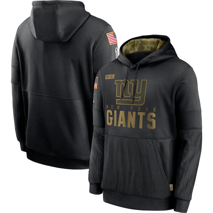 New York 2020 Salute to Service Giants Men Black Pullover Performance Hoodie
