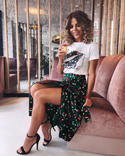 Vintage Leopard Print Long Skirts Women High Waist Midi Skirt Bow Tie 2019 Summer Sexy Split Wrap Skirt Ladies Green(China)