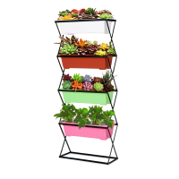 iKayaa 3/4 Tier Metal Folding Plant Stand Garden Planter Flower Pot Stand Display Shelf 19.5KG/26KG Capacity Planter Flower Pot