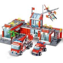 Город пожарная станция Legoes строительные блоки наборы пожарная машина истребитель кирпичи для тележки Playmobil игрушки для детей