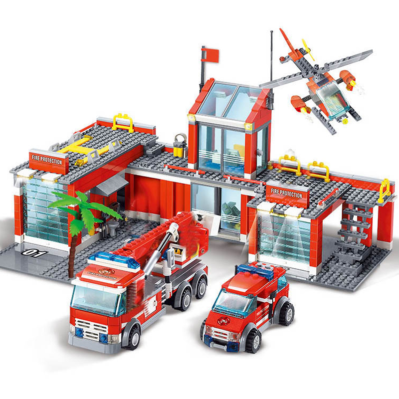 New City Fire Station Legoes Building Blocks Sets Fire Engine Fighter Truck Bricks Playmobil Toys For Children