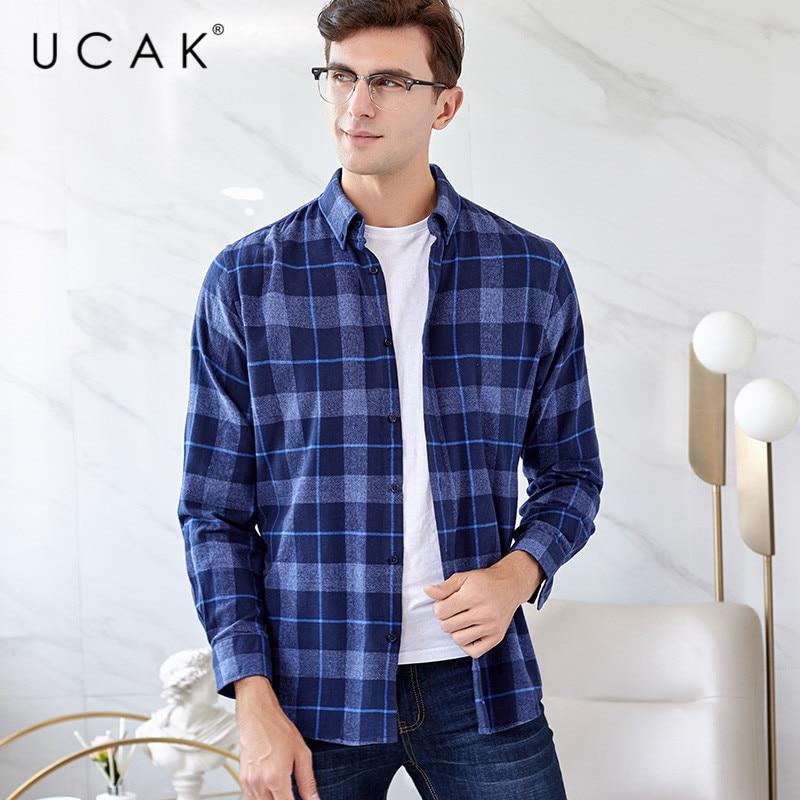 UCAK Brand Shirt Men 2020 New Fashin Arrival Spring Camisa Masculina Streetwear Plaid Camisas Para Hombre Turn-down Collar U6008