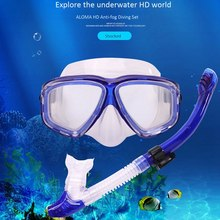 Snorkeling 2 Piece Set Adult Diving Mask Anti-Fog Goggles Silicone Swimming Supplies(China)