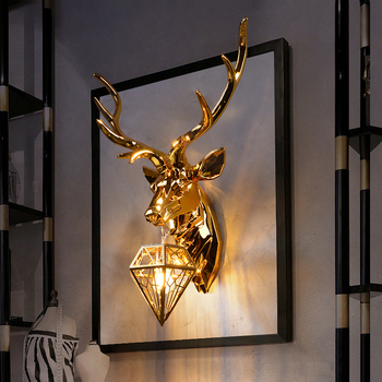 Modern American Retro Deer LED Wall Lamps Antlers Light Fixtures Living Room Bedroom Bedside Lamp Sconce Home Luminaire