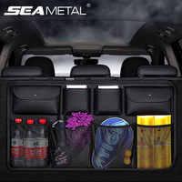 Organizador de maletero de coche de cuero PU, almacenamiento de respaldo de asiento trasero, caja de artículos interiores de automóviles, organizador de maletero de coche Universal de 8 bolsillos