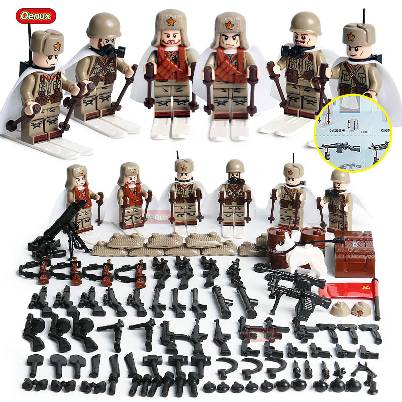 Oenux New WW2 Mini Soviet Army Figures Military Building Block The Battle Of Moscow Russian National Soldiers Legoings Brick Toy