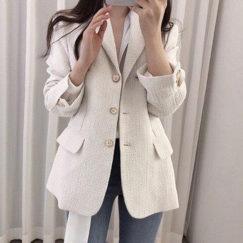 Women Wool tweed Blazers coat 2019 New Fashion Spring Autumn Long Sleeve Suit Jacket Coat Outerwear Karachi