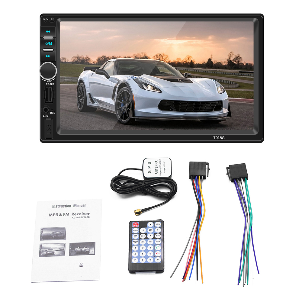 2din Car Radio <font><b>GPS</b></font> Navigation Camera 7'' Touch Screen Bluetooth Autoradio Multimedia MP5 Player <font><b>7018G</b></font> Audio Stereo image