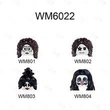 Wm6022 cantores rock kiss band simmons paul stanley eric tommy thayer moc figuras cabeças blocos de construção brinquedos para crianças presentes