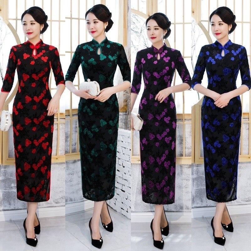 FZSLCYIYI Autumn Velour Chinese Style Cheongsam Elegant Chenille Jacquard Long Vestidos Water Droplet Collar Velvet Qipao