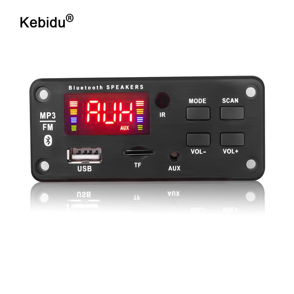 Kebidu-decodificador de MP3 con Bluetooth, tarjeta de Audio cc 5V 12V, fuente de alimentación USB, reproductor de Radio FM TF para altavoz con música para automóvil y Control remoto