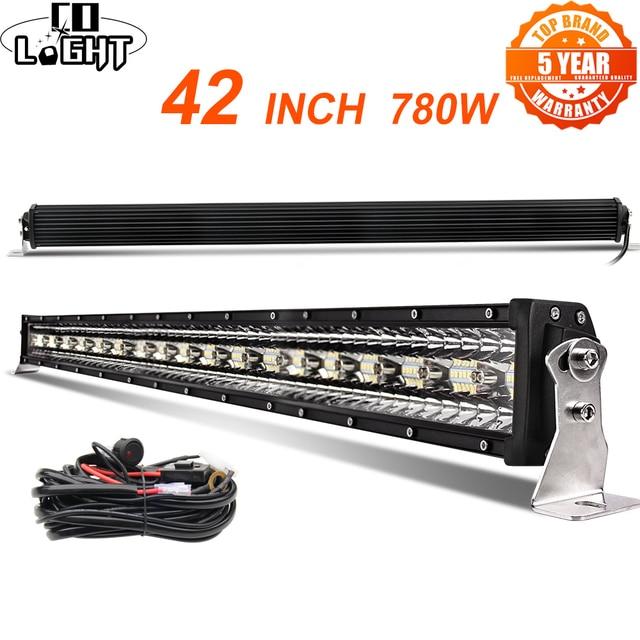 Прямой светодиодный светильник CO, 42 дюйма, 12D, 780 Вт, 3 рядный прожектор, комбинированный, светодиодный, для внедорожников UAZ 4x4, внедорожников, квадроциклов, грузовиков, тракторов