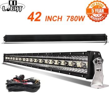 цена на CO LIGHT 42 inch 12D Straight LED Light Bar 780W 3-Rows Spot Flood Combo Beam Led Bar Offroad for UAZ 4x4 SUV ATV Truck Tractors