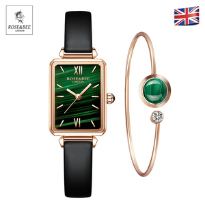 1 Set Bracelet & watch Genuine Leather Strap Green Malachite Japan Quartz Lady First Layer Cowhide Belt Rose Gold Women Watches