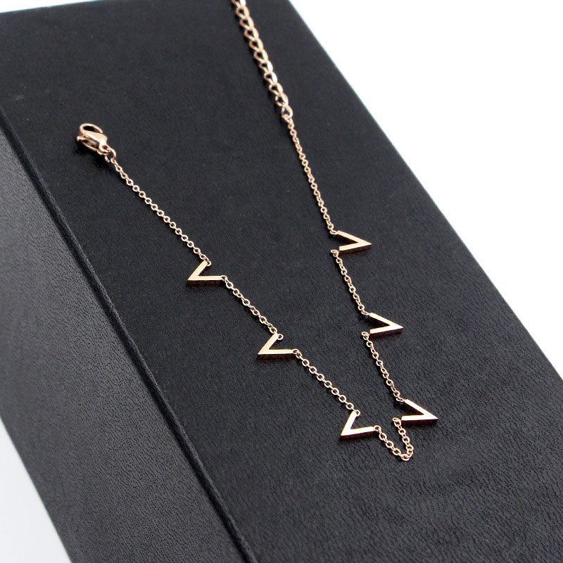 Fashion Jewelry 6 V Letter Rose Gold Anklet Titanium Steel Foot Chain Woman Jewelry Anklet Length 20cm + 5cm 1