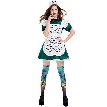 Adult Cosplay Halloween Magic Broon Maid Costume Green Fancy Dress for Carnival Party Costumes Woman Girl Role Play Suit image