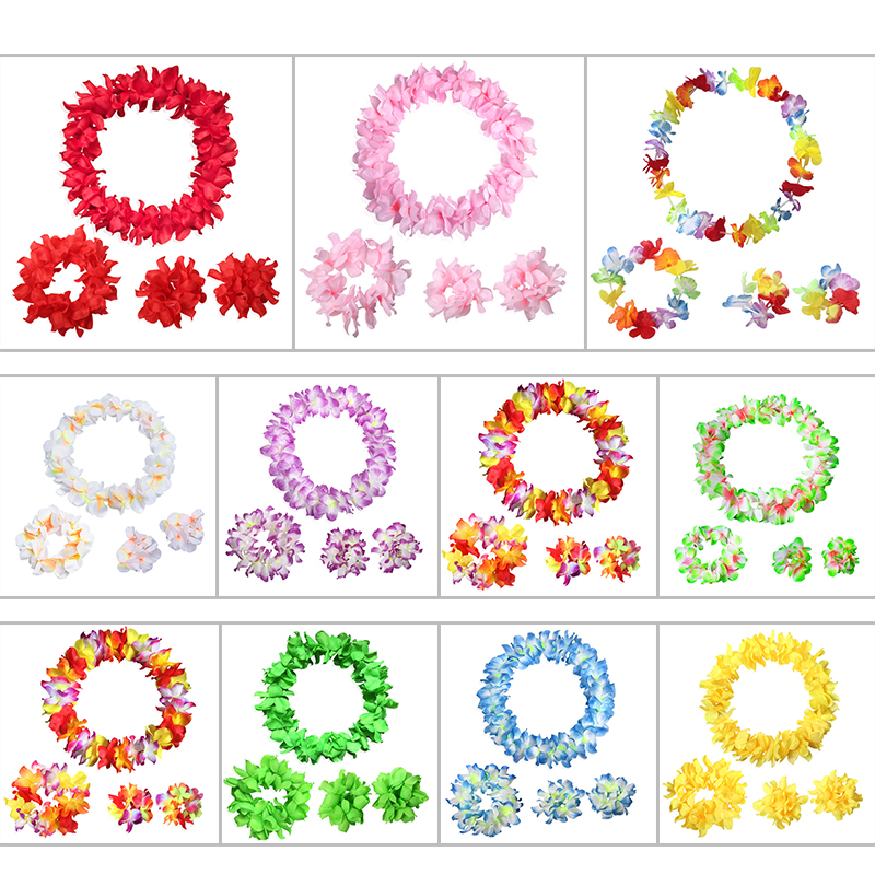 4pcs Hawaiian Artificial Flowers Leis Garland Necklace Flowers DIY Fancy Dress Accessories Hawaii Beach Party Decoration