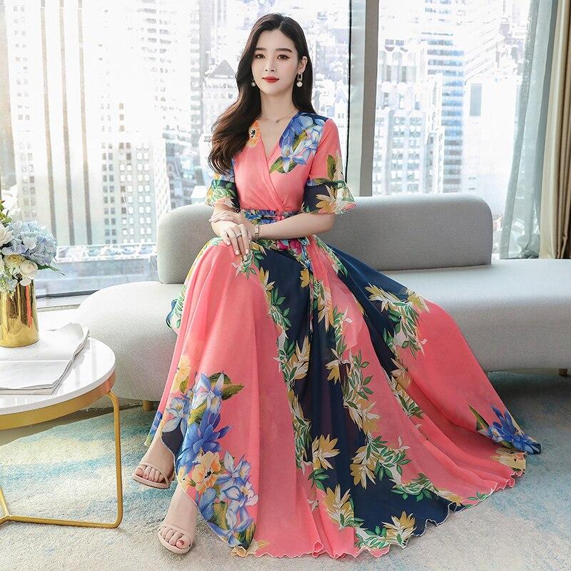 Женское приталенное платье с V-образным вырезом, абрикосовое, желтое или розовое длинное пляжное платье с принтом, лето 2020