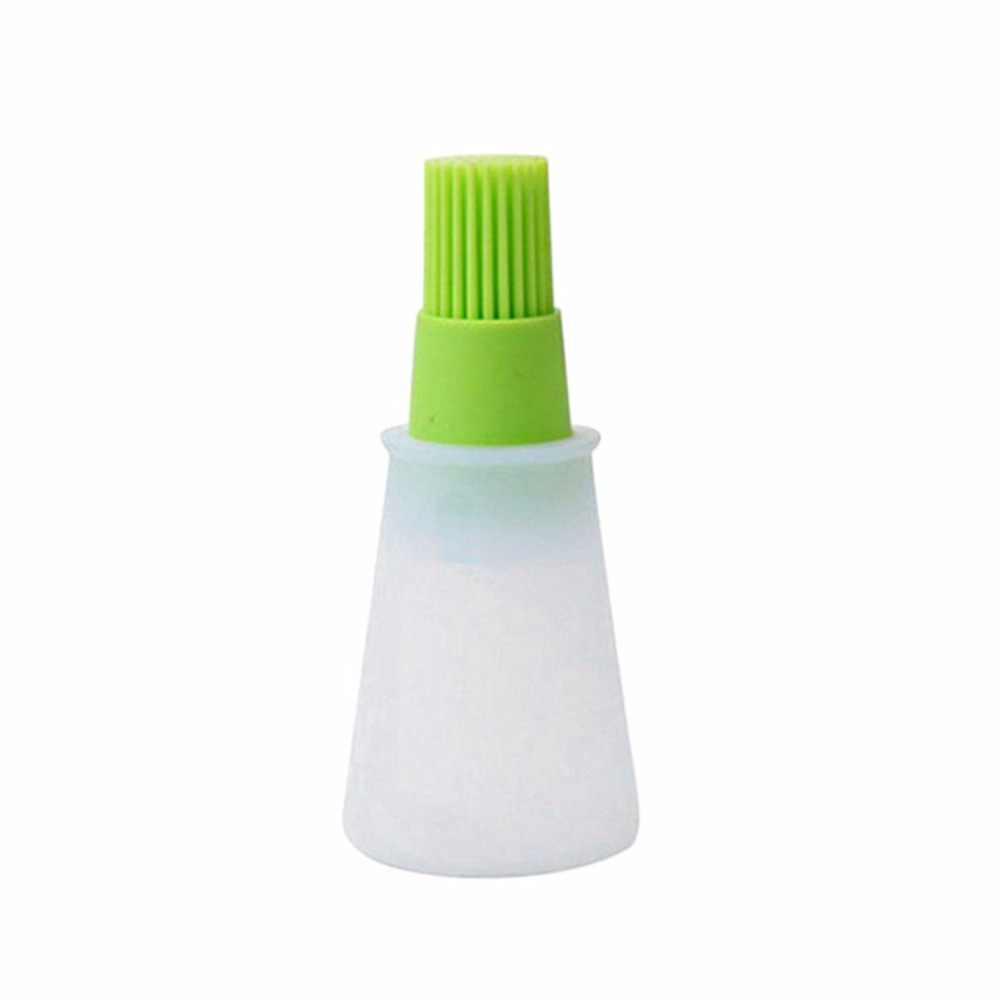 2018 de silicona verde para limpieza de barbacoa, cepillo de aceite de mezcla, Grill, botella de aceite brochas, herramienta resistente al calor para barbacoa, accesorios de cocina