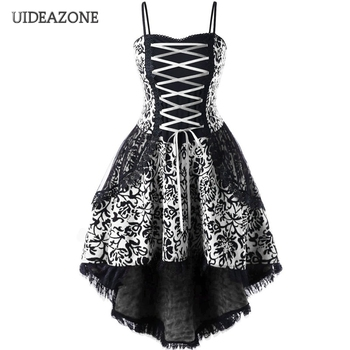 UIDEAZONE Gothic Vintage Lace Patchwork Women Dress Plus Size Goth Bandage Ladies Spaghetti Strap Dresses 5XL