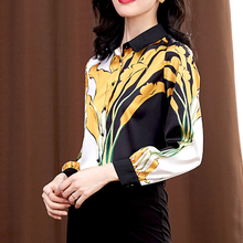 New Floral Printed Silk Shirts Women Long Sleeve Lapel Satin