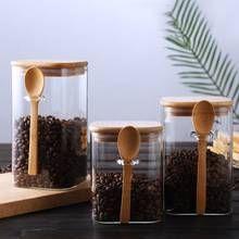 Large capacity 1000ml-1500ml Glass Storage Containers Set Food Container with spoon and bamboo cover Food Storage Containers
