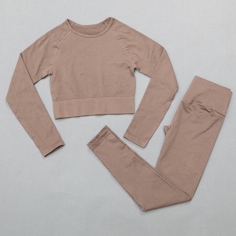 ShirtsPantsBrown - Women's sportswear Seamless Fitness Yoga Suit High Stretchy