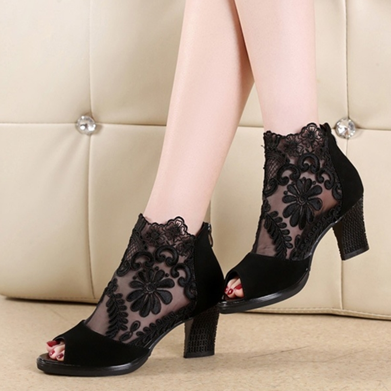 Summer mesh Peep Toe sandals sexy heels single shoes women shoes in Europe and America 2020 spring and summer gauze mujer 1