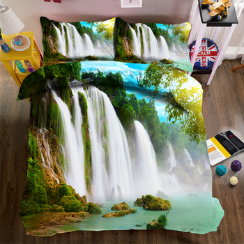 Pastoral style 3d Bedding Duvet Cover set Green Forest Waterfall Landscape Pattern Soft Fabric Quilt Cover Pillowcase 3pcs