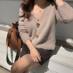 Mooirue Autumn Women Soft White Knitted Cashmere Sweater Double Button Women Warm Jumper V-Neck Winter Sweater 4