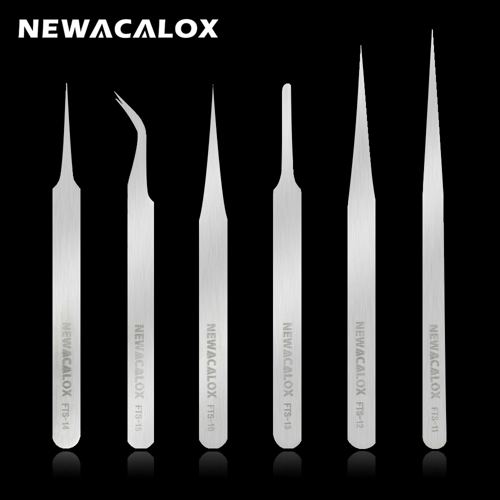 NEWACALOX 6pcs/set FTS Stainless Steel Industrial Anti-static Tweezers Kit Precision Non-magnetic Tweezers For Lab Jewelry Work