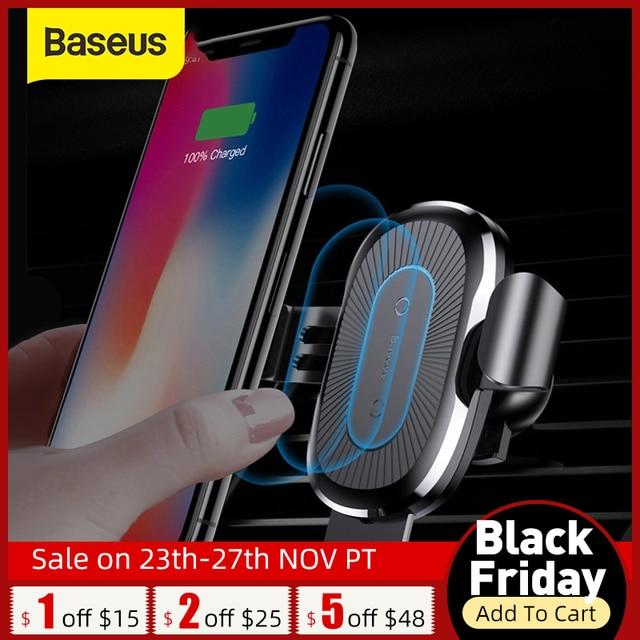 Baseus Qi 자동차 무선 충전기 아이폰 X Xs XR 8 7 10W 빠른 충전기 자동차 마운트 홀더 삼성 S9 S8 자동차 전화 충전기