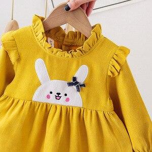 Платье для маленьких девочек новое поступление, весеннее платье с длинными рукавами и рисунком для дня рождения хлопковая одежда для новорожденных милое платье для малышей От 3 месяцев до 2 лет