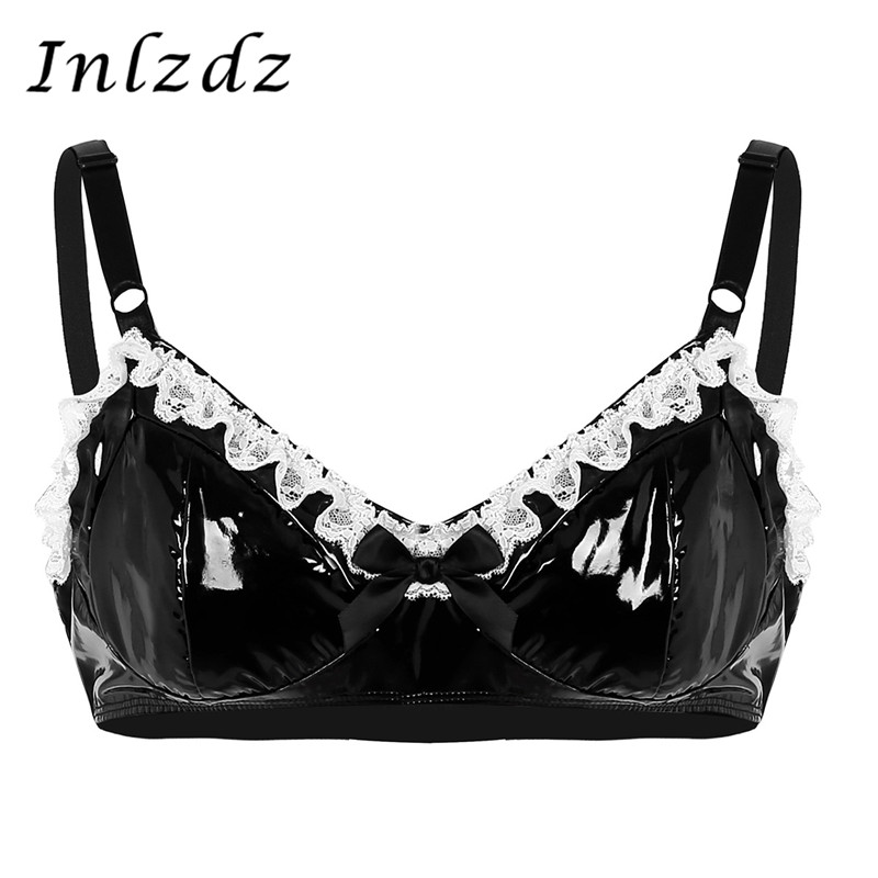 Mens Hot Lingerie Sissy Bra Spaghetti Straps Lingerie Fashion Lace With Bowknot Wetlook Leather Bra Hot Sexy Wire-Free Bra Top