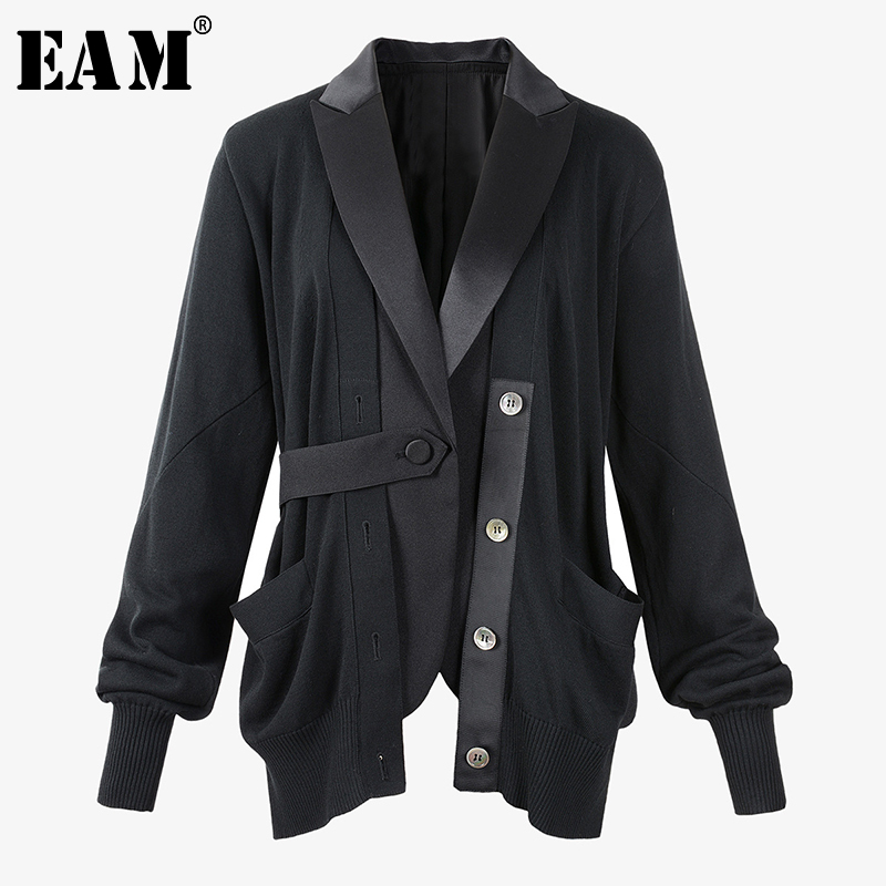 [EAM]  Women Black Knitting Asymmetrical Blazer New Lapel Long Sleeve Loose Fit  Jacket Fashion Tide Spring Autumn 2020 1T328