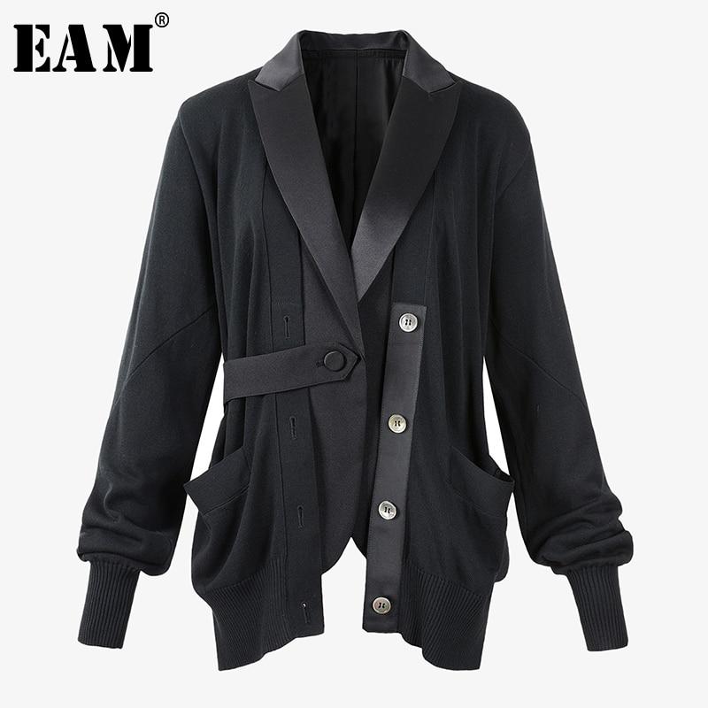 [EAM]  Women Black Knitting Asymmetrical Blazer New Lapel Long Sleeve Loose Fit  Jacket Fashion Tide Spring Autumn 2020 1T328