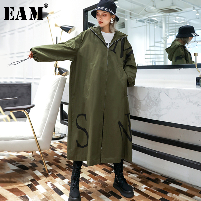 [EAM] Women Drawstring Oversize Trench New Hooded Long Sleeve Loose Fit Windbreaker Fashion Tide Autumn Winter 2019 1A749