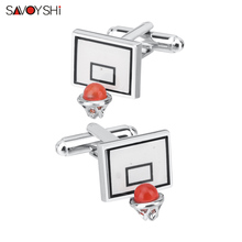 SAVOYSHI Newest Basketball hoop Cufflinks for Mens High Quality Novelty Sports Cuff links Brand Male Suit Shirt Cuff Accessories novelty cuff links stainless steel old craftsman hand laser engraving cufflinks mans french suit accessories jewellery