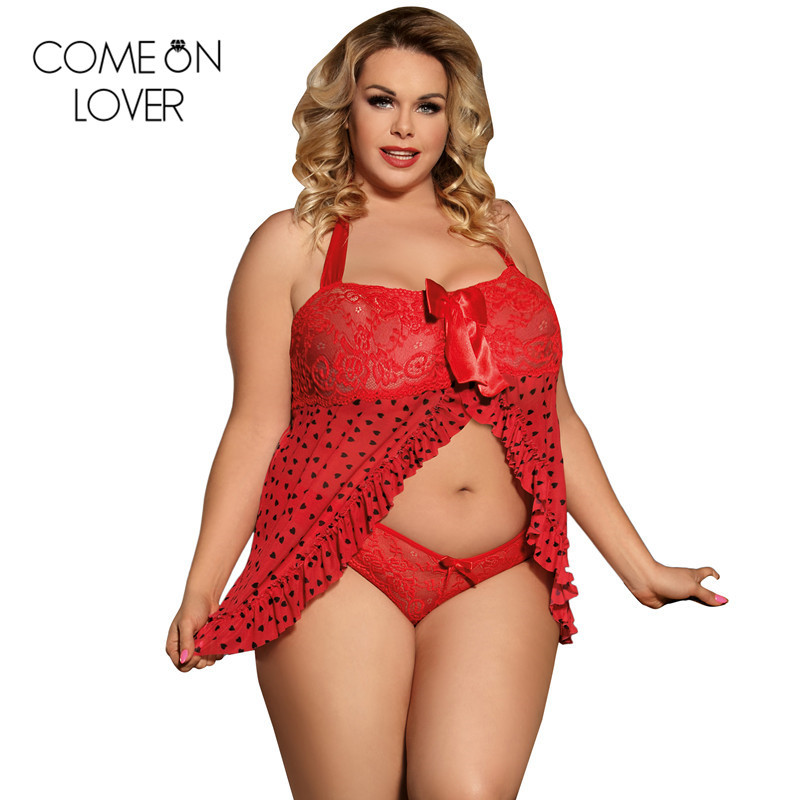 HOTComeonlover Red women <font><b>babydolls</b></font> <font><b>sexy</b></font> lingerie <font><b>dress</b></font>+ panty plus size negligee <font><b>sexy</b></font> dot lace summer halter baby doll RL80538 image