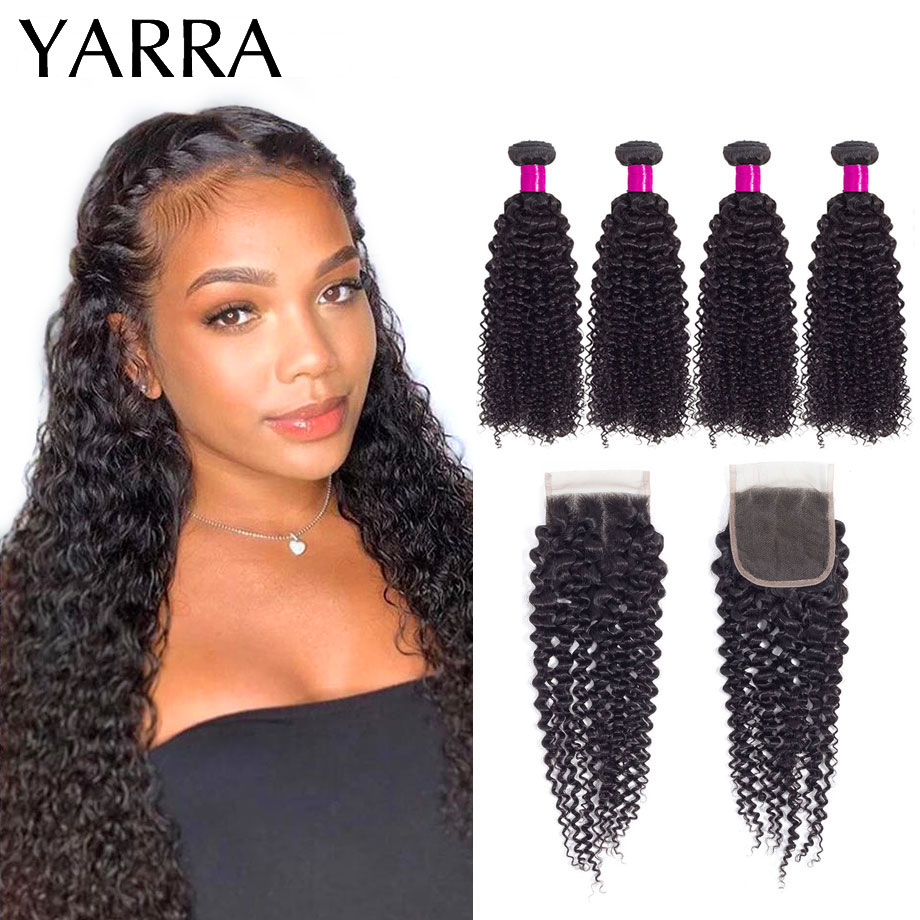 Kinky Curly Bundles with Closure Peruvian Hair Weave Kinky Curly Human Hair Bundles With Closure Pre Plucked 4x4 Lace Remy Yarra