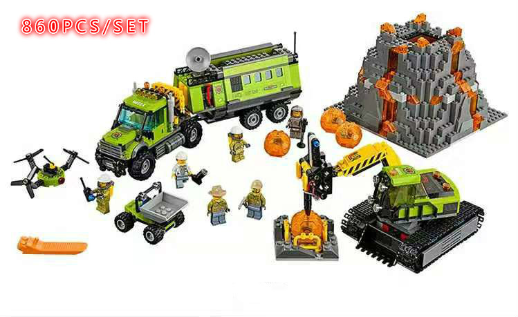 New Volcano Exploration Base Geological Prospecting Fit City Figures 60124 Model Building Block Bricks Toy Gift Kid Boy
