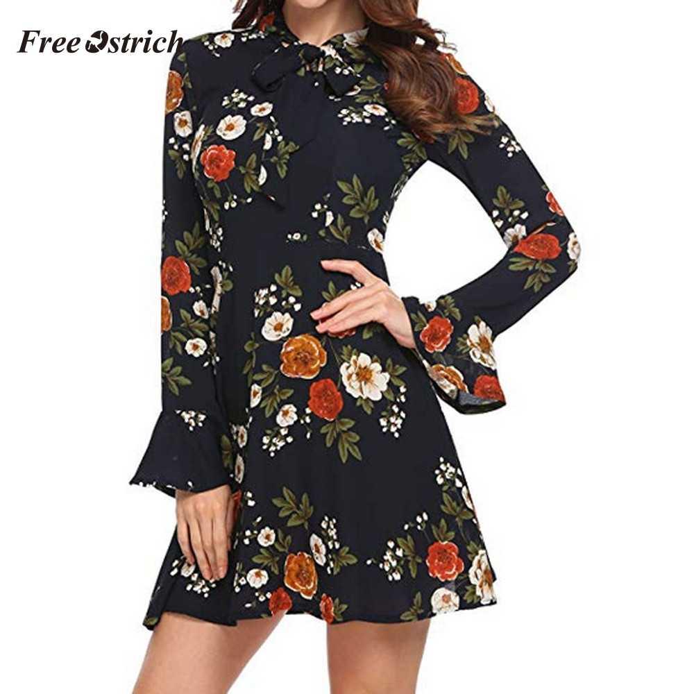 ฟรีนกกระจอกเทศผู้หญิงฤดูร้อน Flare แขนยาว O-คอดอกไม้พิมพ์ Mini Dress PLUS ขนาดแฟชั่น Elegant Design 908