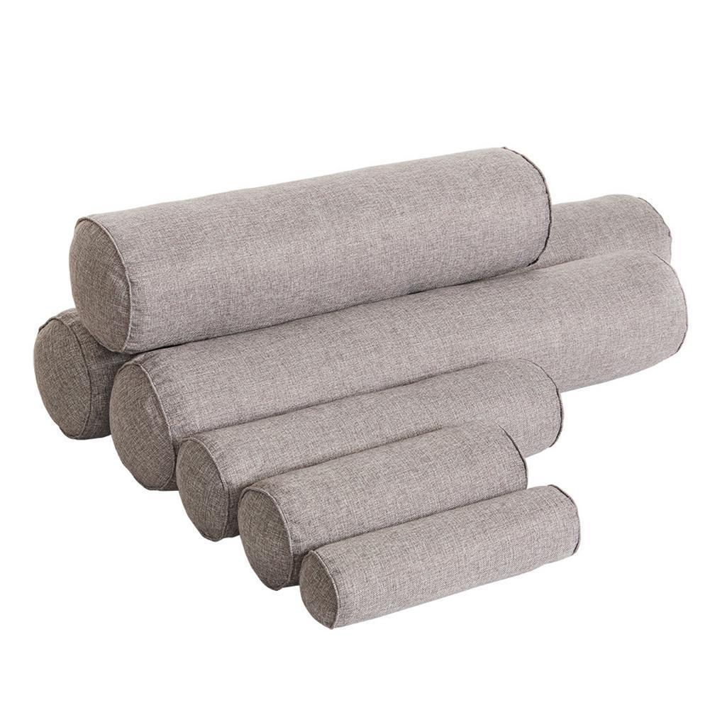 Almohada redonda de Color sólido extraíble de Adeeing, cojín de cama, cojín de cabeza, respaldo de pierna, almohada de columna de viaje ligera